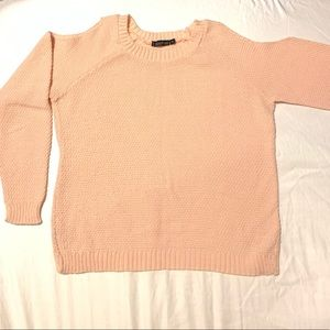 Cold Shoulder Knit Sweater - Peach